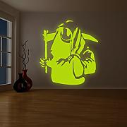 (201x 220cm) Banksy Glowing Vinyl Wand Aufkleber Death mit Happy Smile Face/Glow in Dark Doom mit Braid Aufkleber/Leuchtziffern Wandbild + Gratis Aufkleber Geschenk
