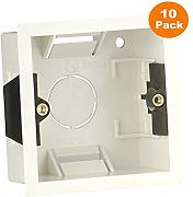 10 x Dry Lining Back Box Flush Wall Pattress Single 1 Gang Electric Socket Switch by RED/GREY