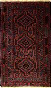 104x193 Caucasian Design Area Rug with Wool Pile - Tribal Balochi Design | 100% Original Hand-Knotted in Grey,Red,Dark Brown colors | a 122 x 183 Rectangular Rug