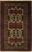 107x193 Caucasian Design Area Rug with Wool Pile - Tribal Balochi Design | 100% Original Hand-Knotted in Red,Gold,Blue colors | a 122 x 183 Rectangular Rug