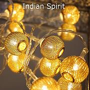 "Produktbild: 10er LED Lichterkette Kugel LED Ball Lichterkette ""Indian Spirit"" Batterie -NEU"