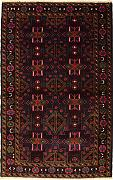 114x198 Caucasian Design Area Rug with Wool Pile - Tribal Balochi Design | 100% Original Hand-Knotted in Maroon,Grey,Red colors | a 122 x 183 Rectangular Rug
