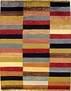 119x168 Gabbeh Area Rug with Wool Pile - Gabbeh Design | 100% Original Hand-Knotted Multicolored | a 122 x 183 Rectangular Rug