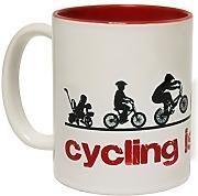 Produktbild: 123t Mugs - Keramikbecher mit Slogan CYCLING IS FOR LIFE mit rotem Interieur