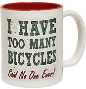 Produktbild: 123t Mugs - Keramikbecher mit Slogan I HAVE TOO MANY BICYCLES mit rotem Interieur