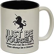 Produktbild: 123t Mugs - Keramikbecher mit Slogan JUST BE YOURSELF UNLESS YOU CAN BE A UNICORN mit schwarzem Interieur