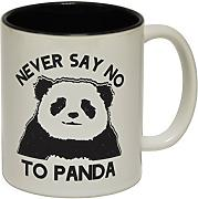 Produktbild: 123t Mugs - Keramikbecher mit Slogan NEVER SAY NO TO PANDA mit schwarzem Interieur
