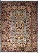 137x201 Caucasian Design Area Rug with Wool Pile - Geometric Design | 100% Original Hand-Knotted in Greenish Blue,Grey,Beige colors | a 137 x 213 Rectangular Rug