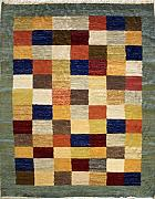 140x190 Gabbeh Area Rug with Wool Pile - Gabbeh Design | 100% Original Hand-Knotted Multicolored | a 137 x 213 Rectangular Rug