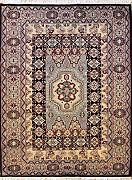 140x198 Caucasian Design Area Rug with Wool Pile - Geometric Design | 100% Original Hand-Knotted in Black,Grey,Beige colors | a 137 x 213 Rectangular Rug