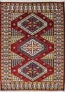 152x244 Caucasian Design Area Rug with Silk & Wool Pile - Geometric Design | 100% Original Hand-Knotted in Red,White,Gold colors | a 152 x 244 Rectangular Rug