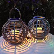 2er Set LED Solar Laterne Gartendeko Rattan Optik graublau beige Lights4fun