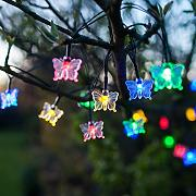 Produktbild: 30er LED Solar Lichterkette Schmetterling bunt Lights4fun