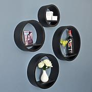 Produktbild: 4er Set Lounge Regal Retro 70er Kreise Circles Rundregal Cube Hängeregal Wandregal in Schwarz