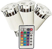 Produktbild: 5W LED MULTICOLOUR E27, 230V - 3 Stk. incl. Fernbedienung