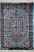 61x91 Caucasian Design Area Rug with Wool Pile - Geometric Design | 100% Original Hand-Knotted in Greenish Blue,Grey,Red colors | a 61 x 91 Rectangular Rug