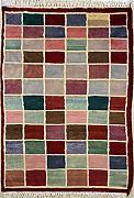76x107 Gabbeh Area Rug with Wool Pile - Gabbeh Design | 100% Original Hand-Knotted Multicolored | a 76 x 122 Rectangular Rug
