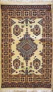 76x124 Caucasian Design Area Rug with Wool Pile - Geometric Design | 100% Original Hand-Knotted in White,Grey,Gold colors | a 76 x 122 Rectangular Rug