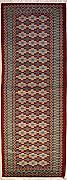 76x274 Gabbeh Area Rug with Wool Pile - Gabbeh Design | 100% Original Hand-Knotted in Red,Green,Gold colors | a 76 x 274 Runner Rug