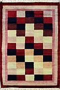 91x150 Gabbeh Area Rug with Wool Pile - Gabbeh Design | 100% Original Hand-Knotted in Red,Blue,White colors | a 91 x 152 Rectangular Rug