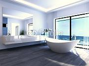 "Alu-Dibond-Bild 40 x 30 cm: ""Exclusive Luxury Bathroom Interior by the sea 