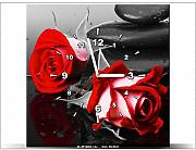 art-gallery XXL – 40 x 40 cm – Roses and Spa – Wanduhr Tabelle – Deco Moderne – New Design