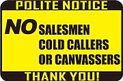 "Aufkleber ""No Salesman Cold Callers Canvassers"""