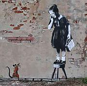 Banksy Photo rat with girl on stoll Print A3 Large Graffiti Grafitti Street Art Poster