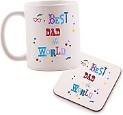 Best Dad In The World Mug and Coaster Set - Great Father's Day or Birthday gift present idea for your Dad. by Ukgiftbox