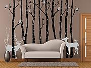 Birch owl tree decal-winter bare tree wall sticker for living room-tree wall decal with owl deer sticker-removable forest tree wall decal by popeven
