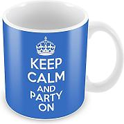 Blau Keep Calm and Party On Becher Kaffee Tasse Geschenkidee Geschenk