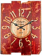 Bluelover Antique Art Wall Clock Wood Vintage Clock Retro Home Office Cafe Bar Decor Red