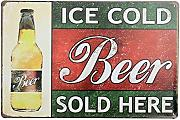 Bluelover Ice Cold Beer Here Tin Sign Vintage Metal Plaque Poster Bar Pub Home Wall Decor