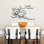 Bluelover Kaffee Restaurant Wand Aufkleber 3D Home Decration Art Wallpaper