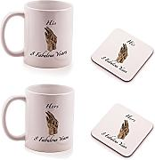 Bronze 8th Wedding Anniversary His and Hers Mug and Coasters gift set - by Ukgiftbox