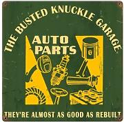 Busted Knuckle Auto Parts Funny Vintage Metal Sign Car Garage 12 X 12 Not Tin by The Vintage Sign Store
