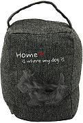 "COM-FOUR® Türstopper für Hundeliebhaber mit Aufdruck ""Home is where my Dog is"" in dunkelgrau, 1kg, 18 x 14 cm (dunkelgrau - 1 Stück)"