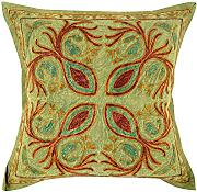 Couch 40x40 Damast Kissenhülle Elegant Baumwolle Dekorativ stickerei pillow case Vintage grün Cushion Cover einzeln Sofa Kissenbezüge By Rajrang