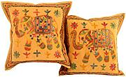 Couch 40x40 elefant Kissenbezug Elegant Baumwolle Dekorativ spiegel Zierkissenbezüge Vintage Gold Pillow cover Set 2 Sofa Pillowcases By Rajrang