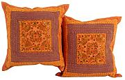 Couch Baumwolle 40x40 Kissenhülle Elegant Orange Sofa stickerei Pillow cover Wohnzimmer blumen Zierkissenbezüge Set 2 Traditional Pillowcases By Rajrang
