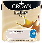 Crown Matt Emulsion Wandfarbe, 2,5 l, Antique Cream
