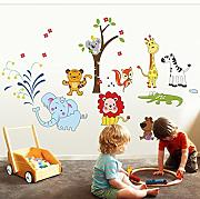 Cute Cartoon Animal Elephant Lion Tree Wall Decals Home Decoration Wallpaper Living Room Sofa Wall Stickers For Kids Rooms Home Decor