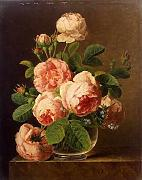Dael Jan Frans Van Still Life Of Roses In A Glass Vase A4 10x8 Photo Print Poster