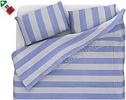 Produktbild: dolcenotte Queensize-Bett Single Bettbezug Set Shabby Chic Style Gestreift Blau und Orange blau