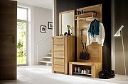 Produktbild: Dreams4Home Garderobe, Set, Wandpaneel, Bank, Wandgarderobe, Paneel, Sitzbank, Spiegel, Kommode, Dielenmöbel, B/H/T 159x199x37, Farbe:Kernbuche;Ausführung:ohne Sitzkissen