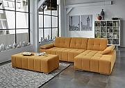 Dreams4Home Polstergarnitur 'Retro II', Ecksofa, Sofa, Wohnlandschaft, Wohnzimmer, orange, Couch, Hocker:mit Hocker