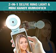 EaseHold Mini 15ml Aroma Diffuser Humidifier, 2 in 1 LED Selfie Ring Licht Flash Light&KFZ-Luftbefeuchter Handy Luftbefeuchter, USB Rechargeable LED Strahler Flash Selfie Licht Ring Fotolicht Licht füllen Selfie Enhancing Kamera Licht für Tablets und Smartphones (Blau)