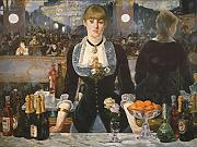 Edouard Manet - A Bar at the Folies Bergere - Large - Semi Gloss - Brown Frame