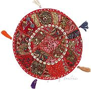 "EYES OF INDIA - 17"" ROT RUND DEKORATIV PATCHWORK BODENKISSEN HÜLLE Indische Dekoration"