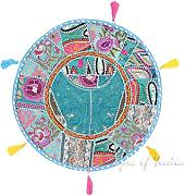 "EYES OF INDIA - 17"" RUND BLAU PATCHWORK DEKORATIVER BODEN KISSENBEZUG Boho Indische Dekoration"
